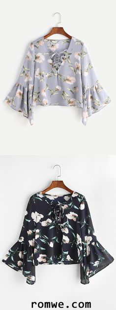 Florals V Neck Bell Sleeve Lace Up Blouse