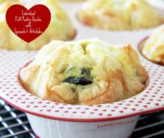 Individual Puff Pastry Quiches with Spinach and Artichoke