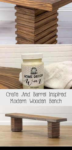 Crate And Barrel Inspired Modern Wooden Bench - woodworking projects beautiful Diy Wood Bench, Bench With Back, Pine Boards, Liquid Nails, Sanding Block, Wooden Leg, Wood Sizes, Wood Glue, Crate And Barrel