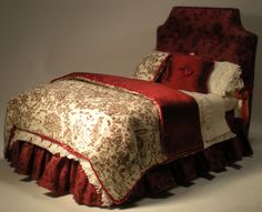Red Toile Bed by Lorraine Scuderi (jt- what a sumptuous miniature bed!)