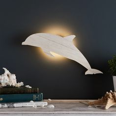 Dolphin Children's Wall Light   Lights4fun.co.uk Childrens Wall Lights, Ocean Mural, Little Man Style, Underwater Theme, Led, Wood Lamps, Strip Lighting, Dolphins, Display