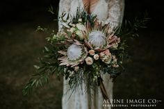 Stunning boho bouquet by The Flower Room in Queenstown, New Zealand. Photography by Alpine Image Company