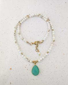 White Howlite and Aqua Chalcedony Pendant Gemstone Necklace. FREE SHIPPING Gemstone Necklace, Turquoise Necklace, Black Onyx, Jewelery, Aqua, Perfume, Gemstones, Free Shipping, Pearls
