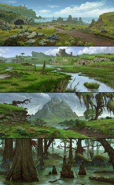 Benoit Bernard : Environment art for Everquest Next , ambience, props and texture details, made as a freelance artist for DayBreak Company. (Art direction of the developpers was the starting point ) Fantasy Artwork, Fantasy Art Landscapes, Fantasy Concept Art, Fantasy Landscape, Landscape Art, Landscape Paintings, Game Concept Art, Environment Painting, Environment Concept