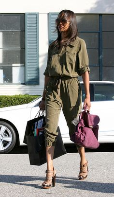 Zoe Saldana amped up the sophistication on a breezy jumpsuit with her Ann Taylor platforms.                  Image Source: Film Magic