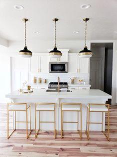 Gallery - White Lane Decor White Lane Decor gold and white kitchen, cadence pendant, Home Decor Kitchen, Rustic Kitchen, Kitchen Furniture, Home Kitchens, Kitchen Design, Vintage Kitchen, Decorating Kitchen, Decorating Ideas, Modern Kitchens