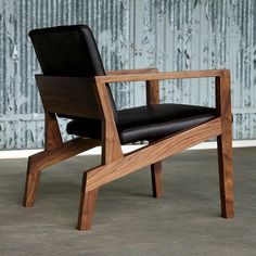 Elijah Leed Maxwell Chair Walnut with Black Leather Angled