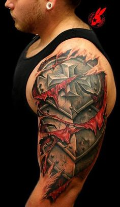 Strong arms and armor tattoos
