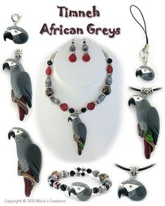 African Grey Parrot Jewelry... All from the website in my previous pin