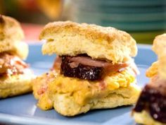 Mustard Glazed Baked Ham and Pimento Cheese Biscuits. Bobby Flay's made-from-scratch buttermilk biscuits help take his sandwich to new, buttery heights. If you're pressed for time, however, store-bought biscuits or biscuit mix will work just fine too. Cheese Biscuits, Pimento Cheese, Buttermilk Biscuits, Homemade Biscuits, Frozen Biscuits, Fluffy Biscuits, Brunch Recipes, Breakfast Recipes, Breakfast Time