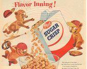 """1955 Post Sugar Crisp Cereal """"Flavor Inning"""" Vintage Ad"""