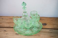Vintage Sandwich Indiana Glass Tiara Decanter Set in Chantilly Green with Six Small Depression Wine Glasses and Serving Tray by VintageFlicker