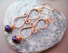 Wire Wrapped Earrings Copper and Violet Quartzite by GearsFactory, €17.00