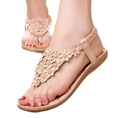 Start Women Summer Bohemia Flower Beaded Flip-flop Sandals Shoes >>> You can find out more details at the link of the image.