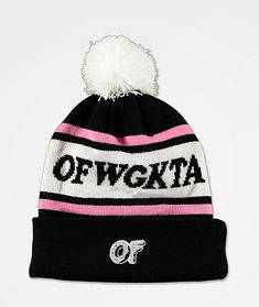 "Kill the streetwear game while rocking the OFWGKTA black pom beanie from Odd Future. This acrylic knit beanie comes in a black, white and pink construction with a white pom on top, along with a foldover cuff. An OF donut logo is embroiderd on the front foldover cuff, while jacquard knit text around the crown reads ""OFWGKTA."""