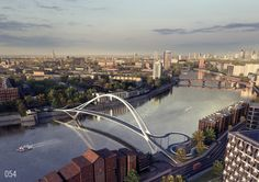 """Image 1 of 11 from gallery of 74 """"Wild Designs"""" Considered for New Thames Pedestrian and Cycle Bridge. Courtesy of Nine Elms Vauxhall Partnership Bridges Architecture, Futuristic Architecture, Amazing Architecture, Architecture Design, Organic Architecture, Arch Bridge, Pedestrian Bridge, Rio Tamesis, Big Ben"""