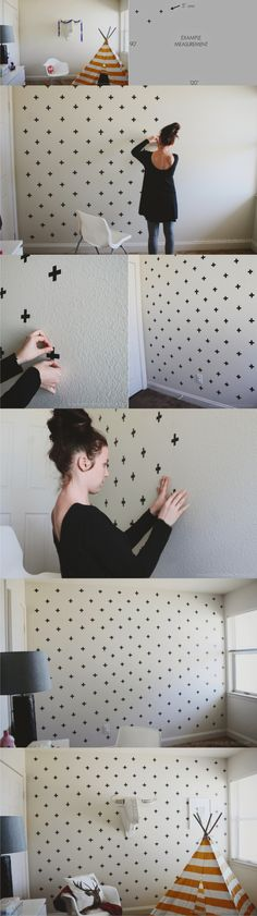 Ingenioso wallart con washi tape / Vía http://www.everythingemilyblog.com/