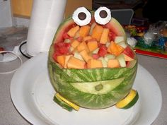 Another Pinner: Race Car watermelon I made for my son's 4th birthday ( car themed party)