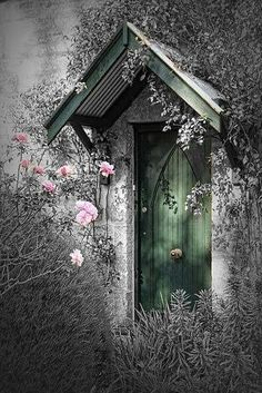 *♥️*pretty door with some pink flowers around it,