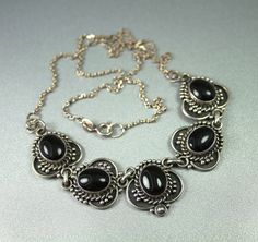 Vintage Sterling Silver 925 Onyx Necklace by zephyrvintage on Etsy,