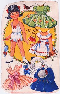 Kathleen Taylor's Dakota Dreams: paper doll A Blog and Paper Doll Friend from Denmark generously offerred to share some beautifully drawn paper dolls that were featured on the backs of OTA boxes (an oatmeal cereal), most printed in the 50's.     - information from website