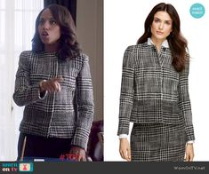 Olivia's black and white houndstooth jacket on Scandal.  Outfit Details: http://wornontv.net/48798/ #Scandal