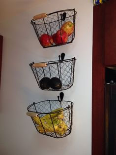 Hanging fruit baskets to save on counter space