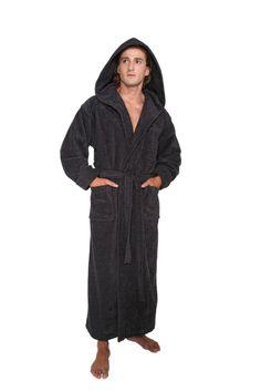 41e71ac990 Hooded Bathrobe Mens Turkish Cotton Terry Spa Robe With Hood   HOODEDBATHROBE  Robe Men s Robes