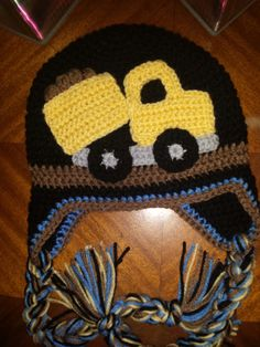 Crochet Dump Truck Ear Flap with Tessals Hat - Kids - Toddler - Boys - Dump Truck - Gifts - Accessories- Brown - yellow - gift Crochet Toddler Hat, Crochet Hats For Boys, Knitted Hats Kids, Crochet Baby Hats, Crochet Beanie, Crochet Toys, Free Crochet, Crocheted Hats, Knitting For Kids