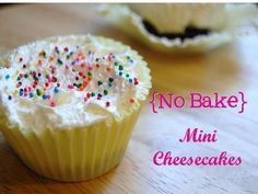 Table for 7: {No Bake} Mini Cheesecakes #desserts #cheesecake
