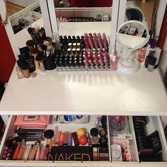 organized makeup vanity