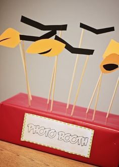 Angry Birds Party Ideas – Could add piggie helmets and hair bows to the photo prop collection