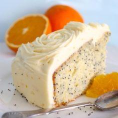 Orange & Poppyseed Cake - A perfect tea cake with vanilla & orange cream cheese frosting.