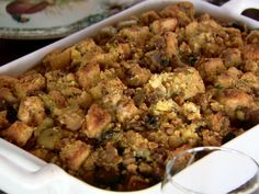 Cornbread Dressing with Sausages, Apples and Mushrooms from FoodNetwork.com Episode Turkey Day Leftovers