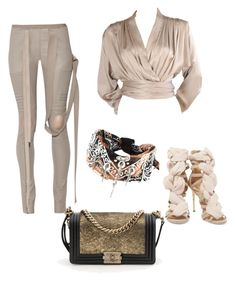"""""""Nude"""" by shameeka-chitan on Polyvore featuring Rick Owens, Yves Saint Laurent, Balmain, DANNIJO and Chanel"""