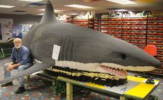 Steve Gerling with a LEGO great white shark