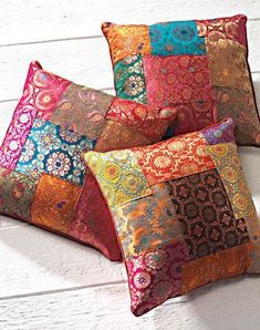 Sewing Cushions Brocade patchwork cushion cover, assorted colours 40 x - High quality and beautiful bedding covers, duvets, sheets and pillow cases for zen mood in your bedroom. Food Pillows, Diy Pillows, Colorful Throw Pillows, Sofa Cushions, Cushion Cover Designs, Cushion Covers, Sewing Pillows Decorative, Decorative Pillow Covers, Patchwork Cushion