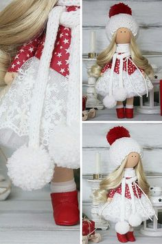 Christmas doll handmade white red soft doll by AnnKirillartPlace