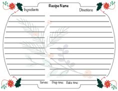 """Downloadable 4 X 6"""" Holiday Recipe Card Recipe Cards, Ecommerce Hosting, Holiday Recipes"""