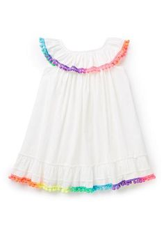 100% Cotton Dress. Woven dress with elasticated frill collar, and flared body. Features multi-coloured pompom trim. Relaxed fitting silhouette.