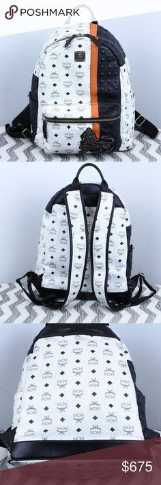 """Authentic MCM Medium Munich Lion Backpack 100% Authentic Genuine Original Real   MCM Worldwide MEDIUM Munich Special Studded Embroidered Lion Backpack In White / Black / Oranger  Fits up to 15"""" laptop Multi use pockets with zippered pouch on the divider  EXTREMELY RARE  Model / Style # - mmk5svu11 wt00 Size MEDIUM (regular backpack size) YKK Hardware  Korea  Good Used Condition - Dirt throughout + Spilt Soda Inside  Like us on Facebook! @ModaByBoutique Moda Boutique SF mcm Bags Backpacks"""
