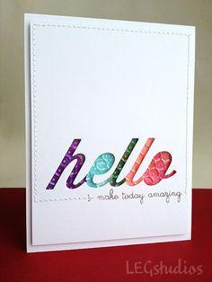 Sequin Hello Card by LEG Studio using Papertrey Ink Hello Die