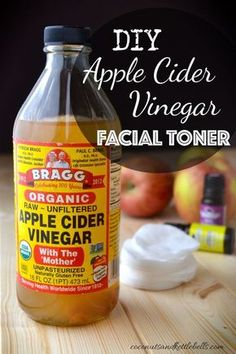 This super simple DIY apple cider vinegar facial toner balances the natural pH of the skin, breaks up the bonds between dead skin cells (exfoliating) to keep skin pores open. It also can lighten sun and age spots, and can improve acne and acne scars. via @CoconutsKettles