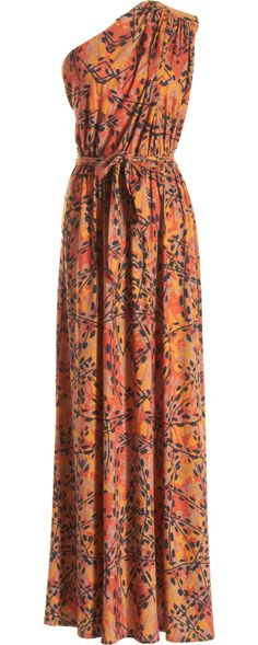 C Costello Tagliapietra One Shoulder Floral Berries Dress