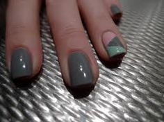 gold grey and mint nails - Google Search
