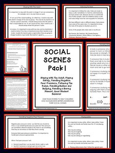 Short Social Stories to address the SOCIAL SCENES of older elementary and middle school kids.
