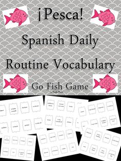 Fun game to help students learn #daily #routine vocabulary in #Spanish! Way more engaging than a worksheet. These versatile cards work great for the game Memory, too! Two games for the price of one!