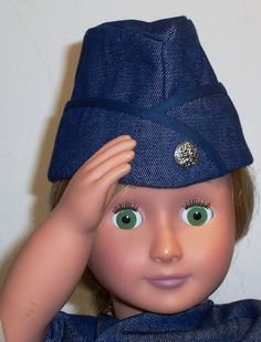 18 Inch Doll Hat Garrison Cap Military Flight Cap Air Force Navy Hat Forage Cap Steampunk FREE USA SHIPPING