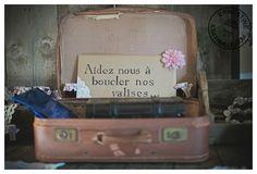 valise vintage comme cagnotte voyage de noce!