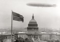 Graf Zeppelin over the US Capitol in October 1928 during its first intercontinental flight.